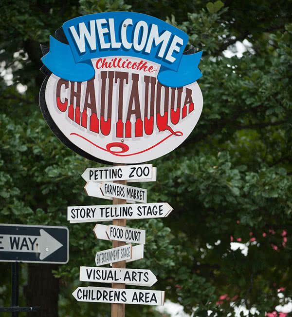 Welcome sign for Chautauqua in the Park festival in Chillicothe