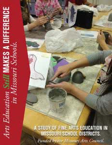 Cover of Missouri Alliance for Arts Education 2015 study: students making clay art