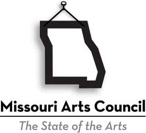 Missouri Arts Council vertical logo with tagline and shadow