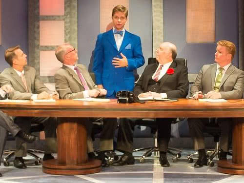 "Conference room scene from STAGES St. Louis, ""How to Succeed in Business"""