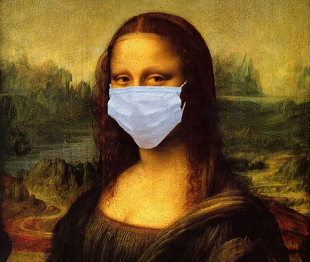 Mona Lisa wearing COVID-19 mask