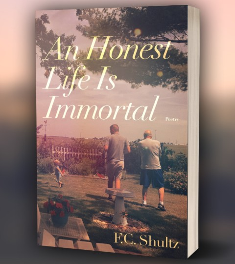 """Front cover of """"An Honest Life Is Immortal"""" book, with child, young man, and old man playing in a garden"""