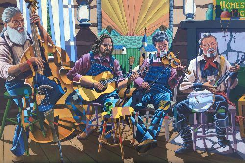 Four folk musicians: bass, guitar, fiddle, banjo