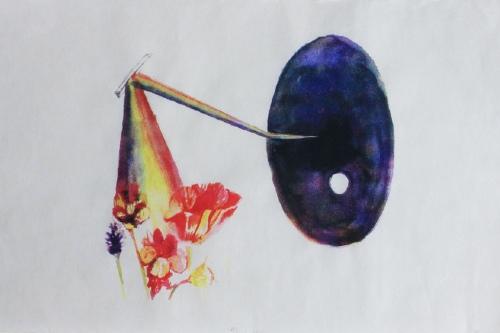 Abstract drawing of deep purple oval, bent rainbow, spring flowersa