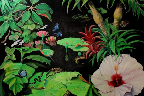 Painting of lime green lily pads and blue butterflies