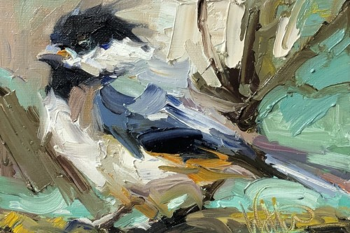 Painting of chickadee with dramatic, thick brushwork