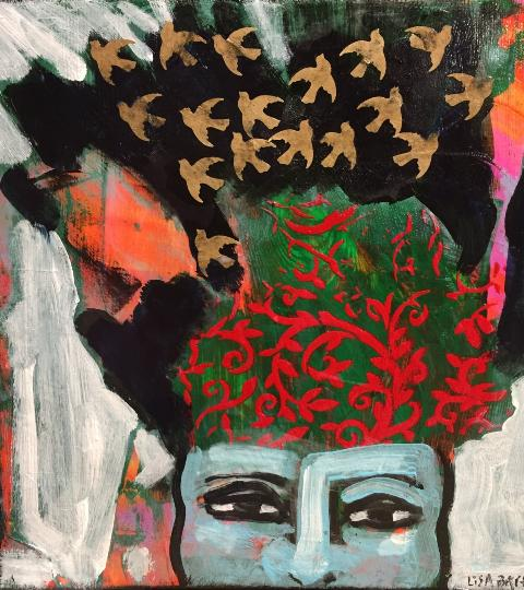 Abstract painting of person wearing hat with bird pattern