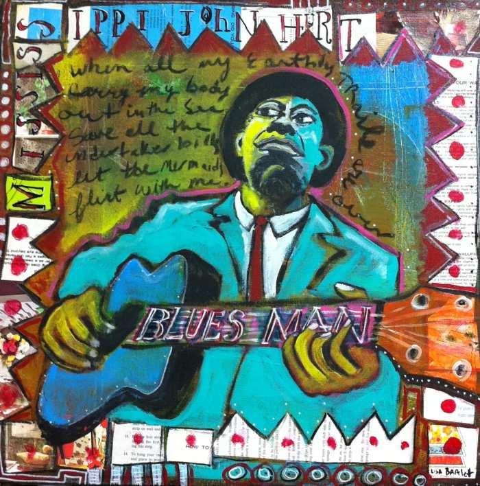 Painting of man playing guitar