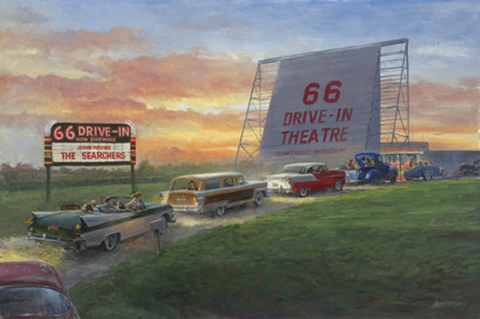 Painting of 1950s cars entering an old-time drive-in movie theatre