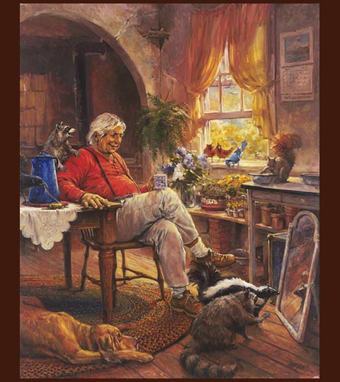 Painting of older person in their home surrounded by friendly forest creatures