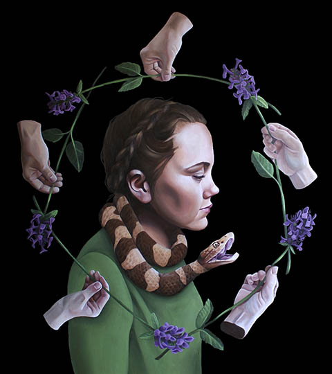 Surreal painting of young woman with snakes in her hair