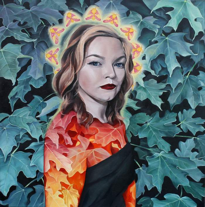 Stylized painting of young woman in blue and red autumn leaves