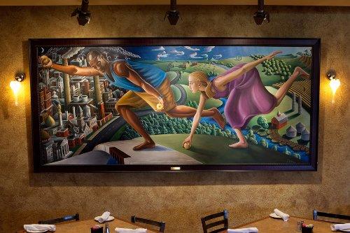 Painting depicting ancient Greek story of Atalanta hanging on restaurant wall