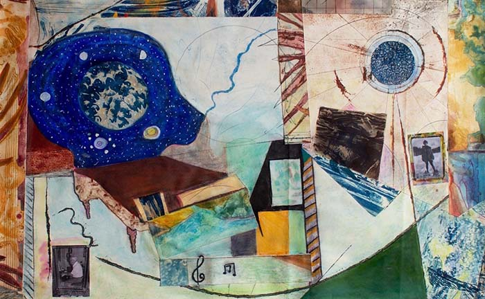 Semi-abstract collage wtih photos and images of music