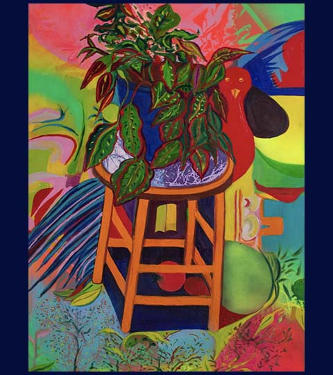 Stylized painting in bold colors of stool, plants, bird